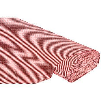 Baumwoll-Jersey 'Streifen' mit Elasthan, rot/weiß