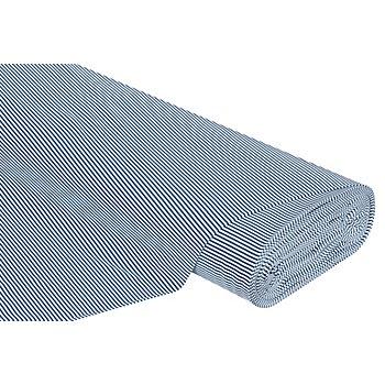 Baumwoll-Jersey 'Streifen' mit Elasthan, blau/weiß