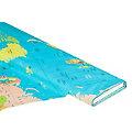 "Baumwollstoff-Digitaldruck ""Weltkarte"", blau-color"