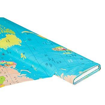 Tissu coton à impression numérique 'mappemonde', bleu multicolore