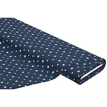 Baumwolljersey 'Sterne' mit Elasthan, nachtblau-melange/weiss