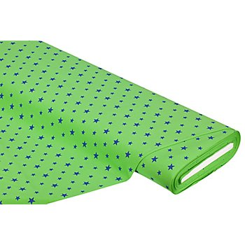Tissu jersey en coton 'étoiles' avec de l'élasthanne, vert pomme/bleu