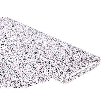 Tissu coton 'millefleurs', blanc/rose
