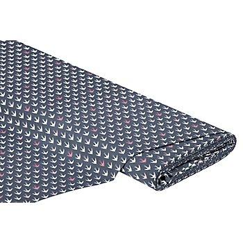 Tissu coton 'hirondelles', gris multicolore