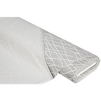 Sweatstoff 'Linien', hellgrau-melange/weiß