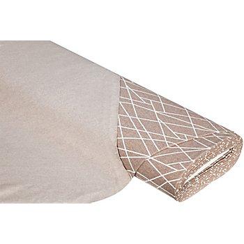 Sweatstoff 'Linien', taupe-melange/weiß