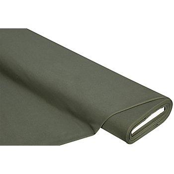 Sweatstoff 'Basic' mit gerauter Innenseite, olivgrün