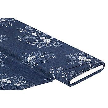 Baumwoll-Digitaldruck 'Jeans-Stickerei', blau-color