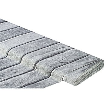 Baumwollstoff-Digitaldruck 'Holzwand Ria', grau