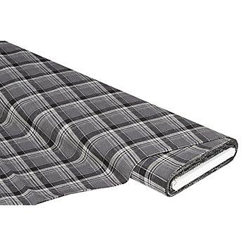 Tissu coton-lin à carreaux, gris