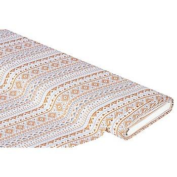 Baumwollstoff Boho-Streifen 'Mona' mit Glitzer, grau/kupfer
