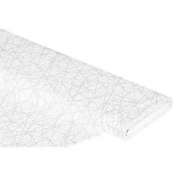 Baumwollstoff Scribble 'Mona', weiß/grau