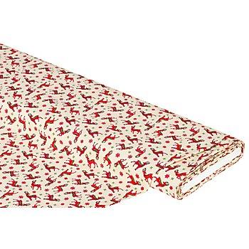 Baumwollstoff Rentiere 'Mona', creme/rot