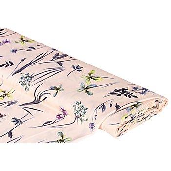 Blusen-Satin 'Blumen', puder-color