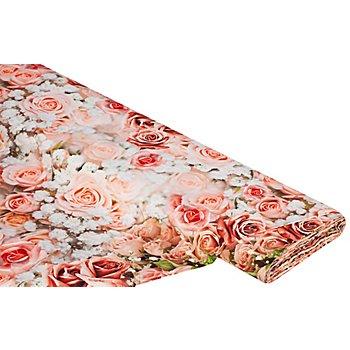 Tissu coton à impression numérique 'roses', tons roses