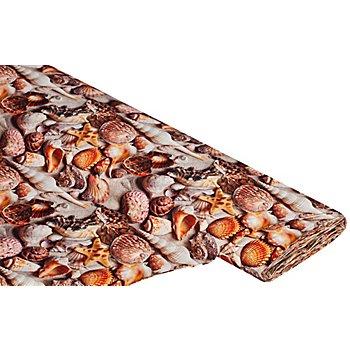 Tissu coton à impression numérique 'coquillages/sable', marron multicolore