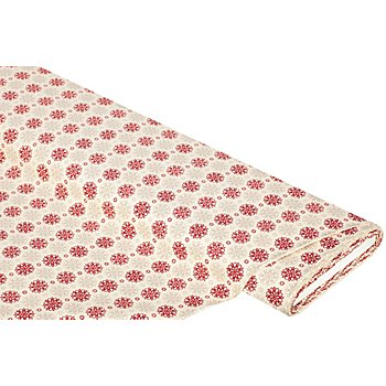 Tissu coton 'fleur graphique', beige/rouge