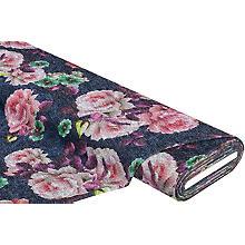 Tissu maille 'fleurs', bleu multicolore