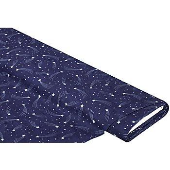 Tissu coton 'étoile filante', bleu/argent