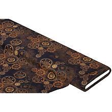 Tissu coton à impression numérique 'Steampunk', marron multicolore