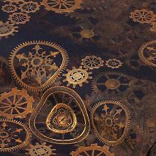 """Baumwollstoff-Digitaldruck """"Steampunk"""", braun-color"""