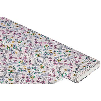 Chiffon 'Blumen/Libellen', rosa