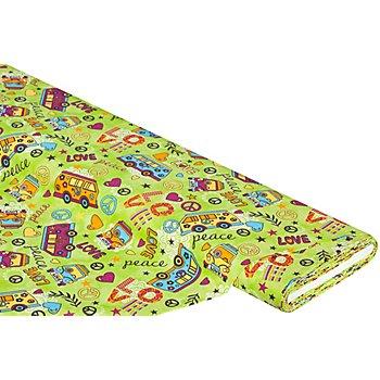 Baumwollstoff Hippie 'Mona', grün-color