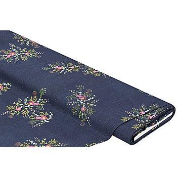 Baumwollstoff-Digitaldruck 'Jeans-Stickerei Ria', blau/bunt