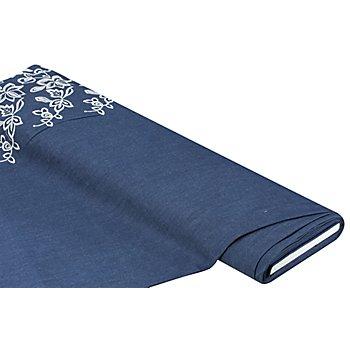 Tissu jeans brodé avec une bordure en dentelle, bleu jeans/blanc délavé