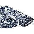 """Tissu jeans brodé """"ramages de fleurs"""", bleu jeans/blanc délavé"""