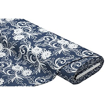 Tissu jeans brodé 'ramages de fleurs', bleu jeans/blanc délavé