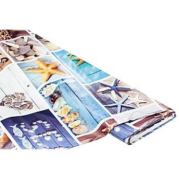 Abwaschbare Tischwäsche - Wachstuch 'Maritim Patch', blau-color