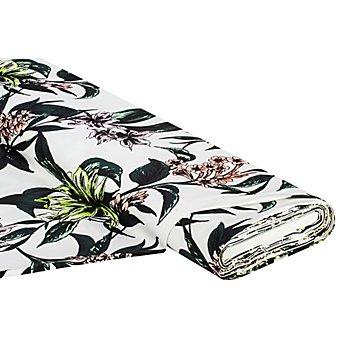 Baumwoll-Stretch-Satin 'Blume/Blätter', ecru-color
