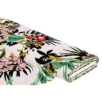 Baumwoll-Stretch-Satin 'Blumen', rosa-color