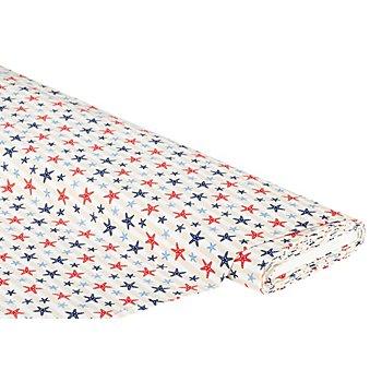 Baumwollstoff Seesterne auf Streifen 'Mona', hellblau/rot/beige