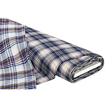 Tissu double-gaze à carreaux tissés, bleu multicolore