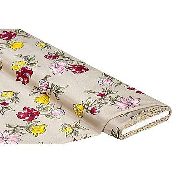 Blusen-Satin 'Blumen', beige-grün-color