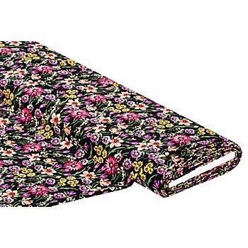 Stretch-Crêpe 'Blumen', schwarz-color