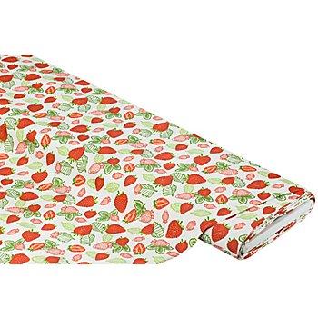 Tissu de décoration enduit 'fraises', blanc/rouge