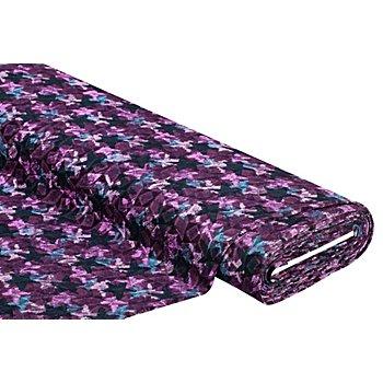 Tissu jersey jacquard 'motif graphique', violet multicolore