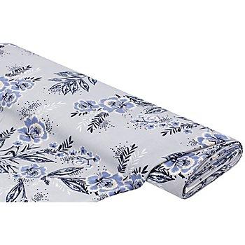 Tissu pour blouses 'fleurs', aspect lin, gris multicolore