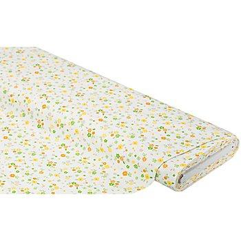 Baumwollstoff Blumen-Allover 'Mona', gelb/grün