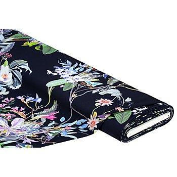 Elastik-Gewebe 'Blumen', marine-color