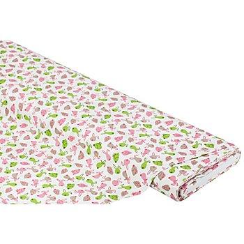 Baumwollstoff Häschen 'Mona', rosa/taupe/grün