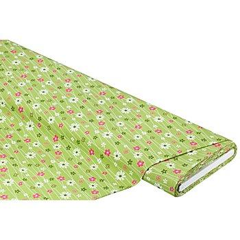 Baumwollstoff Blumen & Linien 'Mona', grün-color