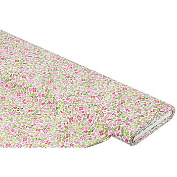 Baumwollstoff Blumenwiese 'Mona ', rosa/taupe