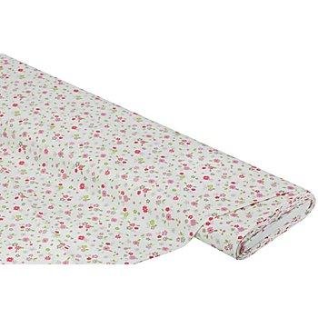 Tissu coton 'motif floral', rose/vert