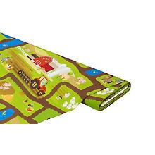 Tissu coton à impression numérique 'ferme', vert multicolore