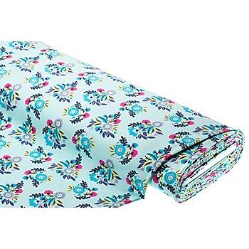 Sweatstoff 'Blumen', mint-color