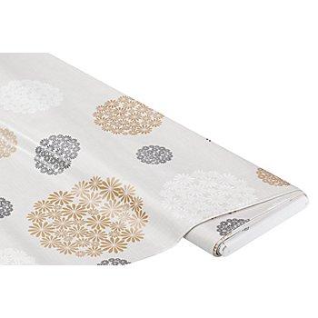 Abwaschbare Tischwäsche - Wachstuch 'Blumen/Kreise', grau-color